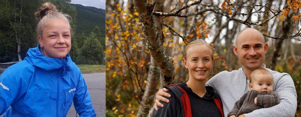 Fra venstre: Maria Båtnes og Anniken Fure Stensrud med mannen Eirik og datteren Iris.